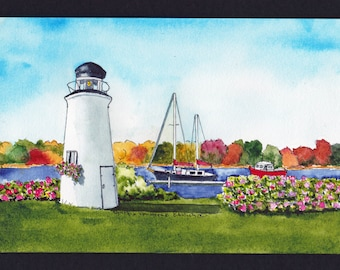 Kennebunkport Harbor Lighthouse Roses - Watercolor-Seascape-Wedding Gift-Art Collector-Original- Man Woman Gift-New England-Affordable Art