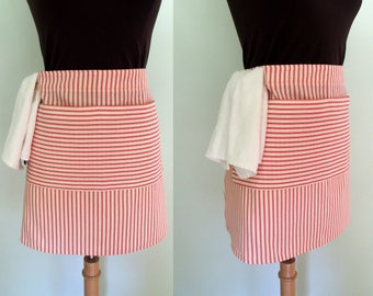 Red Stripe Half Apron with Pocket and Towel Loop, Waitress Apron, Server Apron, Red Ticking Apron, Red Striped Apron, Restaurant Apron