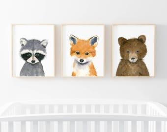 Woodland babies, Set of 3 Prints, Animal Paintings, fox, bear, raccoon, baby shower, Childrens Wall Decor, Nursery, Kids Art Print