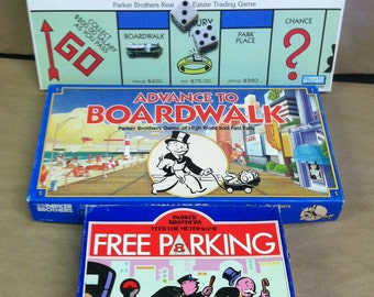 Vintage Retro Board Game Lot Monopoly Free Parking Advance To Boardwalk Parker Brothers