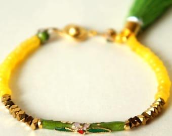 Jewelry bracelet Cloisonne Yellow jade Hematite tassel Boho Hippie