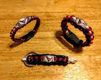 Houston Texans inspired Paracord Bracelet, Keychain, or Set