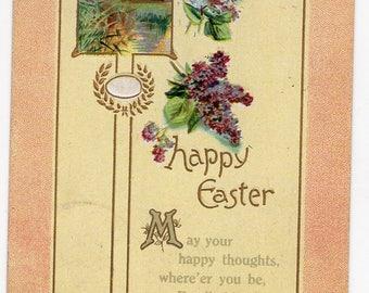 Vintage postcard - Easter postcard, Vintage Easter Greetings Postcard with lilacs, antique postcard