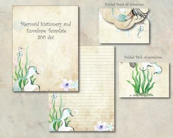 Watercolor Mermaid Digital Paper Stationery Paper Printable Stationary Paper Writing Paper Envelope Template Note Paper