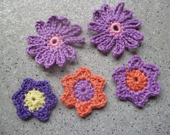 5 flowers in hand made crochet cotton