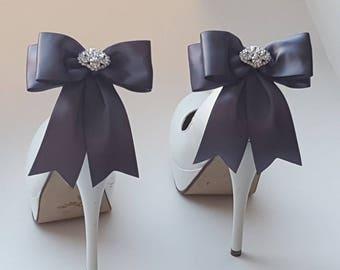 Shoe Clips, Bridal Shoes Clips, Rhinestone Shoe Clips, MANY COLORS, Bow Shoe Clips, Clips for Wedding Shoes, Bridal Shoes, accessories gray