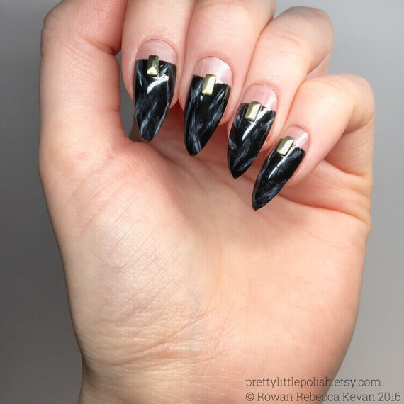 Black cut out marble stiletto nails, Luxury nail sets, Black ...