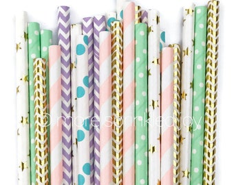 UNICORN 25 Pretty Paper Straws, Pastel and gold colored straws, Unicorn themed party, Mermaid party, Mint and pink party, gold foil straws