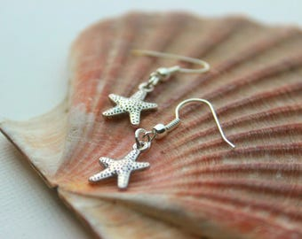 Silver starfish earrings. With silver plated/sterling silver hooks.