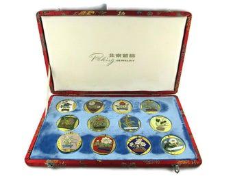 12 Bonsai Cloisonne Pendants/Huge Peking Jewelry Botanical Box Set/Red  Brocade Box Set/Big Floral Enamel Medallions/Chinese Garden Flowers