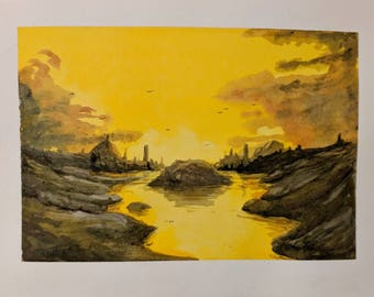 Yellow Sunset --  Original Watercolor