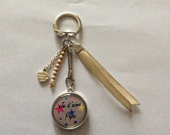 "Keychain cabochon ""I love you Dad"" we love you dad"