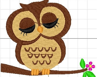 machine embroidery OWL