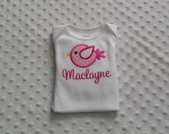 Baby Girl  Personalized Bodysuit ,  Modern Birdie