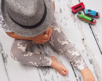 Baby Leggings - Toddler Leggings - Unisex Leggings - Deer Leggings - Deer Clothing - Baby Shower Gift - Grey Boys Pants - Grey Girls Pants