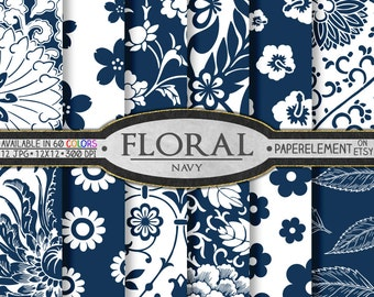 Navy Blue Floral Digital Paper: Navy Blue Scrapbook Paper, Navy Blue Digital Scrapbook Paper, Navy Blue Flower Background, Navy Floral Paper