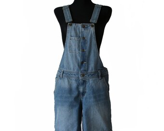 Vintage Blue Denim Jean Shorts Overalls Jumpsuit Medium Size