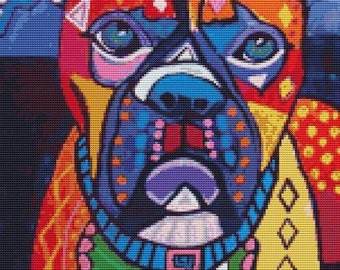 Modern Cross Stitch Kit 'Boxer Dog Modern Pop Art',  By Heather Galler, Dog CrossStitch, Counted Cross Stitch, Boxer Stitching,