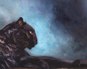 Black Panther giclee on Canvas