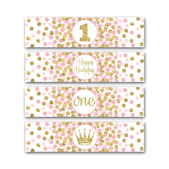 I Am One Pink And Gold Birthday Party Decorations One High: Little Princess Party Water Bottle Labels Girl 1st Birthday
