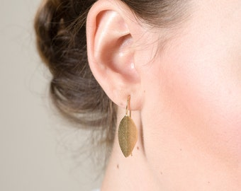 Large folded Leaf Earrings, Dandle Earrings, Leaf Eaarings, Trendy Fashion Earrings, Nature Inspired Jewelry, 14K Gold plated