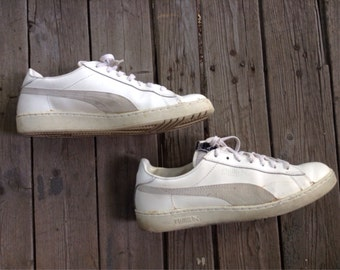 Vintage 1980's White Leather Puma Defeater Sneakers Shoes Kicks size 12