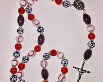 First Communion, Sports Rosary, Athlete's Rosary, Kids Rosary, Child's Rosary, First Rosary, Sports Fan Rosary, Priest Gift, Catholic Gift