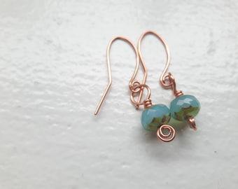 Blue Czech Glass Copper Earrings
