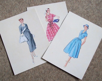 Vintage Fashion/Flowers Prints x 3 Double sided!