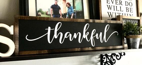 Farmhouse Sign | Thankful | Thankful Sign | Thanksgiving Sign | Fall Sign | Autumn Sign | Fixer Upper | Modern Farmhouse
