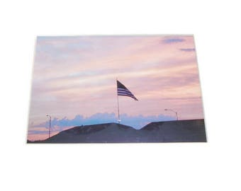 Flag at dusk ready to frame matted print 5X7