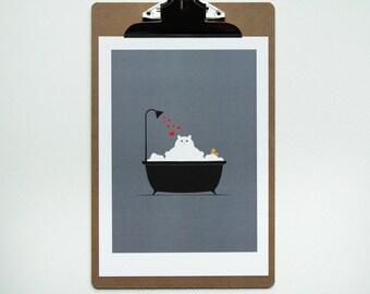 Bathroom Decor, Cat Lover Gift, Cute Cat, Bathroom Art, Wall Art, Nursery Art Kitchen Art, Art Print, Cat in a Bath A4