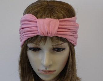 Wide headband, front knotted turban headband, viscose jersey headwear, hair wrap, yoga headband, head wrap, stretchy headband