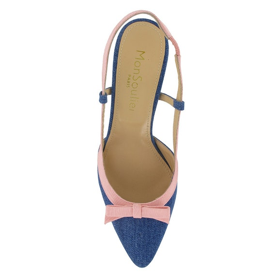 leather slingback pointed handmade Pointy slingback jeans Pointy pumps shoes slingback toe pumps toe blue slingback fabric Denim women qOawC1