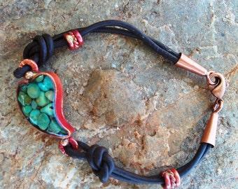 Turquoise Leaf Bracelet - Copper Leaf Bracelet - Leather Bracelet - Cowgirl Jewelry - Western Cowgirl Bracelet