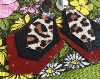 Leopard print leather earrings, recycled red leather earrings, polka dot earrings