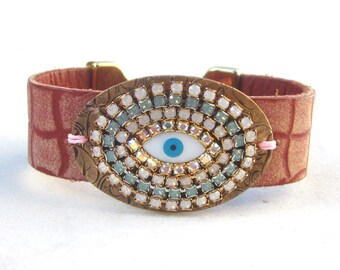 Evil eye swarovski leather cuff, embelished crystal bracelet, salmon pink boho chic cuff bracelet, rhinestone leather bangle, hippie jewelry