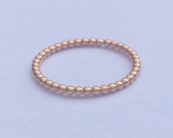Beaded Stacking Ring. Rose Gold filled Band. Slim Dainty Stacking Band. Bubble Bobble Dot Ring