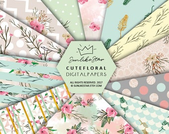 Flower Scrapbook Digital Paper: Floral Digital Paper, Printable Paper floral pattern, planner backgrounds, pink, green, scrapbook page - 099