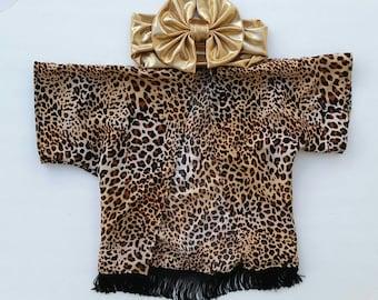 Cheetah print kimono, leopard kimono, child kimono, baby kimono, toddler kimono, cheetah bow, cheetah shirt, child shirt,