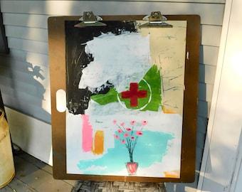 Acrylic Wall Art, Mixed Media Art, Medic, Military Art, Home Decor, Abstract Art, Floral Art,  Acrylic Painting, PTSD Awareness