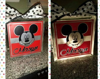Personalized 8x8 Micky Mouse  lighted glass block.