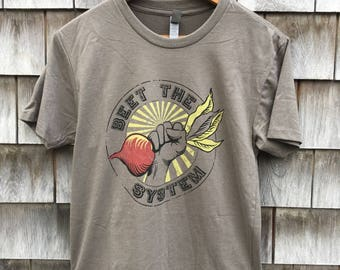 BEET THE SYSTEM Men's Funny Vegetable Pun T-shirt
