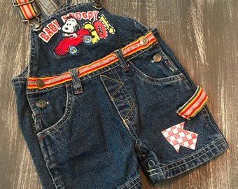 Vintage Baby Snoopy GO! 3 Months Race Car Jean Denim Shorts Overalls 80s 90s