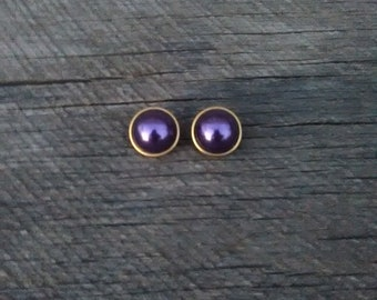 Metalic Purple on Gold Tone Round Dome Clip On Earrings, Inv.# 235