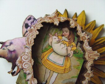 Alice in wonderland, pig, pigle, sunflower, wood, wooden, brooch, pin, layered, framed, by NewellsJewels on etsy