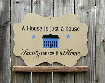 Family Sign, Home Sign, Primitive Decor, Saltbox, Rustic Wall Decor, Hand Painted, Laser Cut, Wood Sign, Tan, Black, Blue Saltbox House