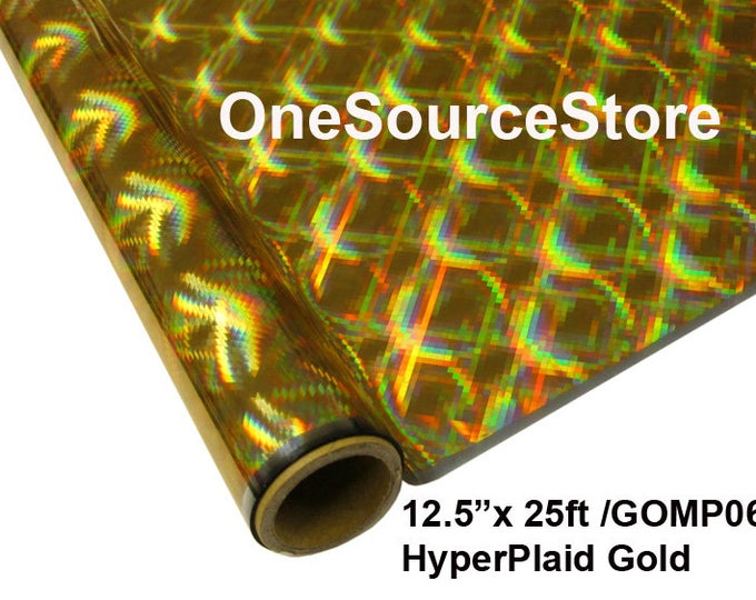 "HTV Textile Foil* / 12.5 ""x 25 ft / HyperPlaid Gold / GOMP06"