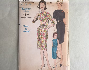 Vintage 60's Sewing Pattern, 60's Dress Pattern, Day Dress, Cocktail Dress,  Vogue 5556, Bust 32, XS or SMALL, Sheath, Easy Pattern