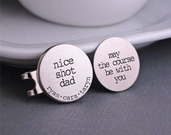 Father's Day Gift Golf Ball Markers, Personalized Stainless Steel Golf Gift for Dad, Father's Day Golf Gift, May the Course Be With You